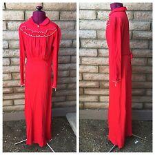 Munsingwear VTG 1950s Sz 16 Red Nightgown Floor-Length Dress Long Sleeve Ruffles