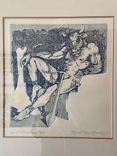"R. Rosenthal Etching ""Spent Minotaur"" . Fantastic Mythological figure S/N 50/75"