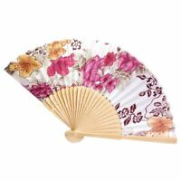 10X(Chinese Japanese Fold Red Floral Fabric Bamboo Asian Folding Fan O8C1)