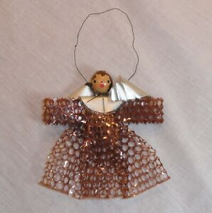 Folded Mesh Angel Christmas Holiday Ornament, Vintage, Beaded Face Missing Halo