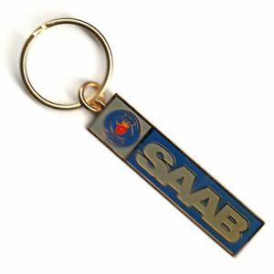 Vintage 1970s SAAB Brass Keychain Keyring FACTORY SEALED NOS IOP