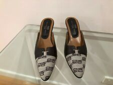 Balenciaga Womens Mule style shoes - Brown Leather/Beige Fabric - Size EU 35
