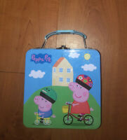 Peppa Pig Trinket Supply Tin Toy Lunch box Case Style Carryall Metal Pencil Case