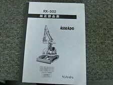 Kubota Model RX502 Mini Crawler Excavator Parts Catalog Manual Book