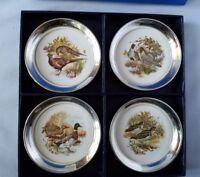 Taunton Silversmiths Lenox Sheridan Silver Set of 4 Coasters Bird Wildlife