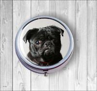 DOG BLACK PUG FACE #2 PILL BOX ROUND METAL - dlm7Z