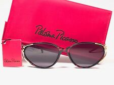 VINTAGE PALOMA PICASSO GOLD CAT EYED BLACK RED GOLD 1980'S GERMANY SUNGLASSES