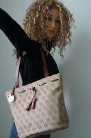 Dooney & Bourke Signature Khaki Brown Canvas Tote Handbag Satchel Leather Tassel