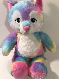 Build a bear GWL Great Wolf Lodge exclusive rainbow colorful wolf BAB plush (48)
