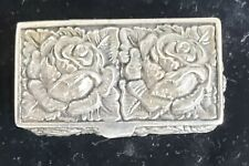 Antique Repousse Sterling Silver, English Pill Box, Floral, Peony?  Hallmarked