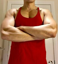 NWOT Mens Muscle Fitted Red  Fitted String Tank Top M NR