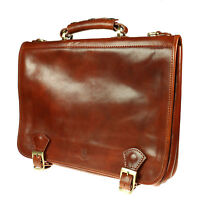 Vera Pelle Mens Genuine Shoulder Messenger Italian Leather Made Breifcase B003