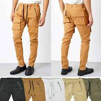 KDNK Men's Twill Slim Tapered Fit Jogger Pants with 3D Cargo Pockets