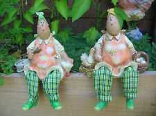 SET OF 2 COUNTRY LADY FARMERS SHELF SITTER