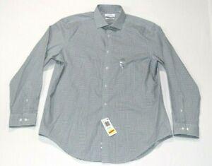 Calvin Klein Men's Slim Fit Stretch Print Dress Shirt Green Size 16.5 32/33