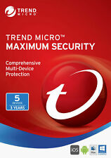 Trend Micro Maximum Security 5 Device user 3 Year 2019 2020 Windows 10 Mac