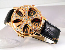 Gents Ladies Unisex Black Leather Rapper Gold Spin Ice Pimp Bling Crystal Watch