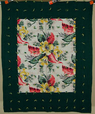 Beautiful 30's/40's Crib Quilt ~Nice Vintage Bark Cloth Fabric!