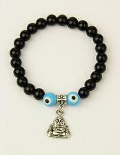 Glass Stretchy Bracelet Blue Evil Eye & Black Beads with Alloy Buddha(JB01103)