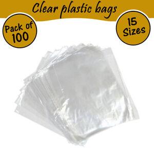 100 Quality Clear Plastic Food Grade Bags Sandwich Storage Polythene - All Sizes