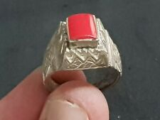 EXTREMELY RARE ANCIENT CRUSSADES SILVER RING RARE STONE 8,6GR 19 MM