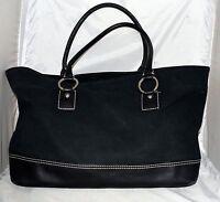 Banana Republic Black Thick Cotton Canvas & Leather XL Shopper Tote Bag
