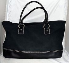 Banana Republic Black Thick Cotton Canvas & Leather XL Shopper Tote Bag
