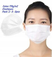 Lots 2-5-10, Masque de protection , lavable , réutilisable , Coton noir , blanc