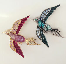 New 2 Pcs Twin Gold Antique Style Crystal Money Lucky Birds Brooch Pin B1323&24