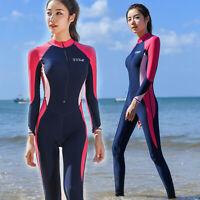 Womens One Piece Swimsuit Dive Skin Surf Swimwear Lycra Long Sleeve Bathing Suit