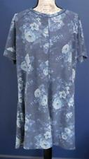Joe Boxer Womens Night Gown Tunic Plus Size 3X Blue Floral Short Sleeve NWT