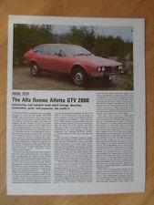 ALFA ROMEO Alfortville GTV6 2000 ORIG 1977 sport motoristici PROVA SU STRADA opuscolo