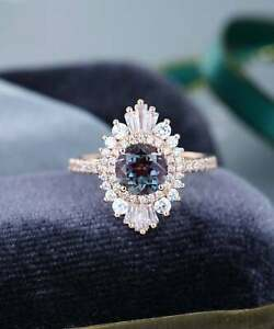 2.50Ct Round Cut Alexandrite Diamond Halo Engagement Ring 14K Rose Gold Over
