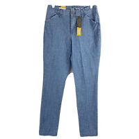 Lee Chambray Tailored Chino Pant Slim Straight Blue High Rise Womens Size 4 Long