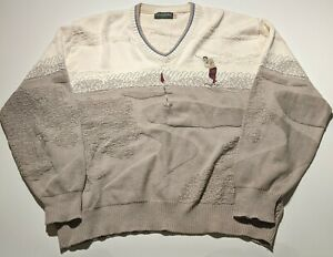 Vintage Linksport Men's 2XL Cotton V-Neck Golf Sweater