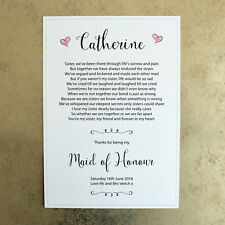 Thanks for being my Maid of Honour A4 Personalised Wedding Poem Sign for Sister