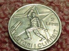 Rare Albania 1989,2 Leke Commemorative 45 Anniversary Liberation WWII from Nazi