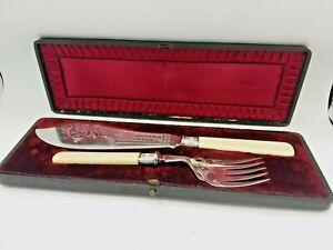 Vintage Boxed Set Of Faux Bone Silver Plated Ornate Serving Fish Knife & Fork