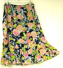 Flare Full Skirt 2X Trumpet Godets Fully Lined Floral Stretch Waist Pull-on