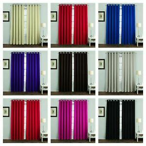 CURTAINS Luxurious THERMAL BLACKOUT Curtains With Eyelet Ring Fitting (Pair)