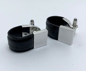 Alfred Dunhill Silver & Black Leather Cufflinks