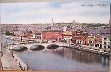 Irish Postcard CORK AND RIVER LEE St Patrick Bridge Valentine & Sons Eire 1940s
