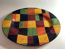 Tabletops Corsica Home Large Platter Checkered Pattern