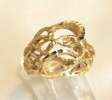 Heavy Vintage 14k Yellow Gold Abstract Freeform Diamond Cut Wide Band Ring