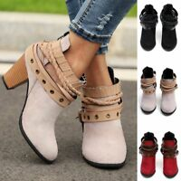 Retro Women Winter Martin Ankle Boots Strappy Mid Block Heel Winter Zipper Shoes