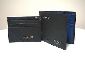 TED BAKER Men's Wallet Leather Wallet and Card Holder Gift Set Black and Blue