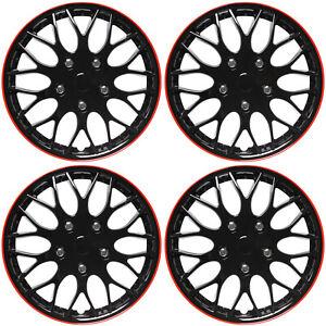 """SET 4 Piece Hub Caps ICE BLACK / RED TRIM 14"""" Inch Rim Wheel Covers Cap Cover"""