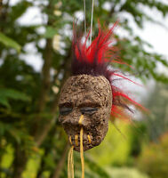 RED & BLACK MOHAWK SHRUNKEN HEAD CAR MIRROR DANGLE GOTH 50s