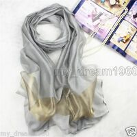Fashion Women Silver Gray Pure 100% Silk Scarf Wrap Ladies Shawl Scarves New