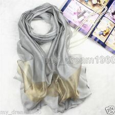 Fashion Women Silver Gray Pure 100% Silk Scarf Wrap Ladies Shawl Scarves New